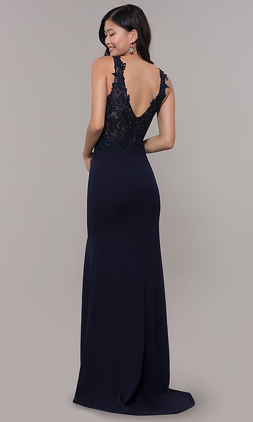 Image of embroidered long v-neck prom dress. Style: DQ-2622 Back Image