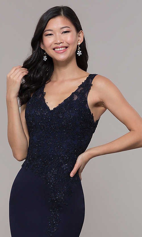 Image of embroidered long v-neck prom dress. Style: DQ-2622 Detail Image 1