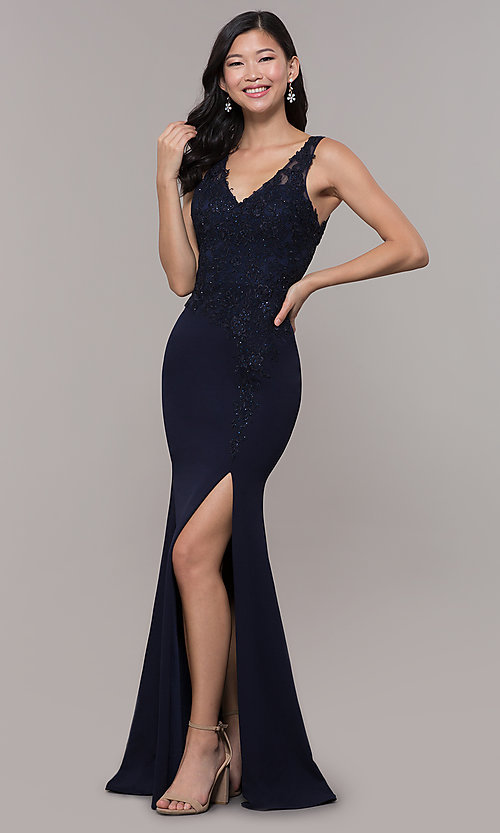 Image of embroidered long v-neck prom dress. Style: DQ-2622 Detail Image 3