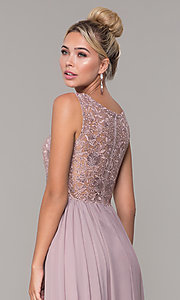 Image of chiffon long mocha prom dress with embroidery. Style: DQ-2553 Detail Image 2