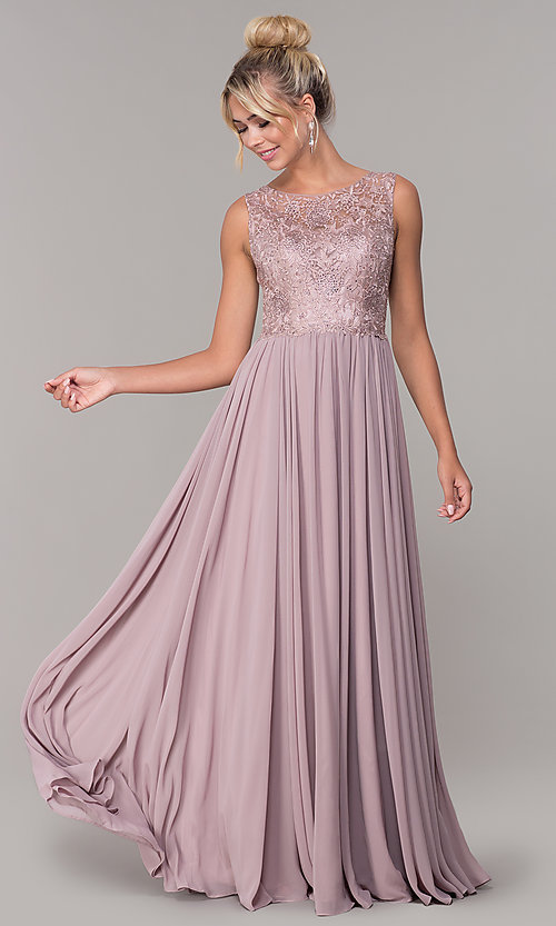 Image of chiffon long mocha prom dress with embroidery. Style: DQ-2553 Front Image