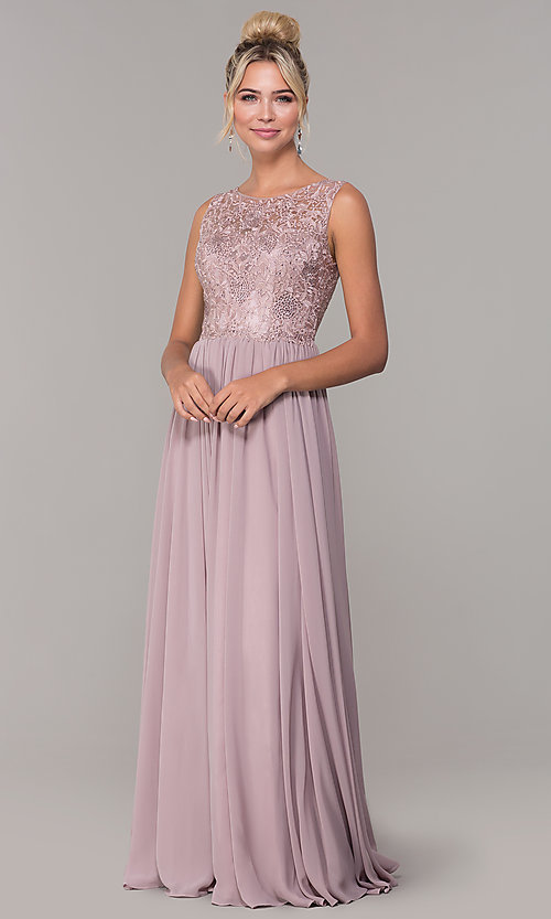 Image of chiffon long mocha prom dress with embroidery. Style: DQ-2553 Detail Image 3