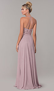 Image of long high-neck chiffon formal prom dress. Style: DQ-2678 Back Image