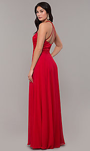Image of long high-neck chiffon formal prom dress. Style: DQ-2678 Detail Image 5