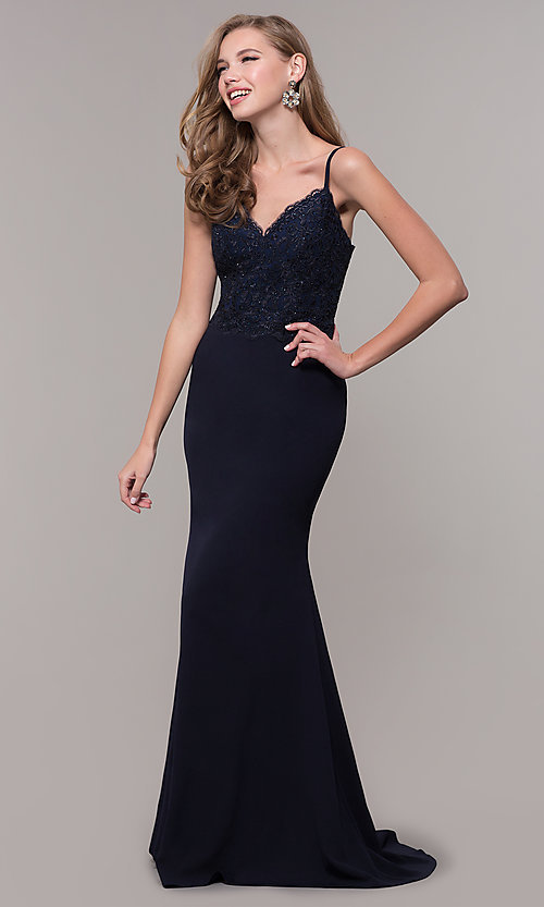 Image of long formal prom dress with embroidered bodice. Style: DQ-2620 Front Image