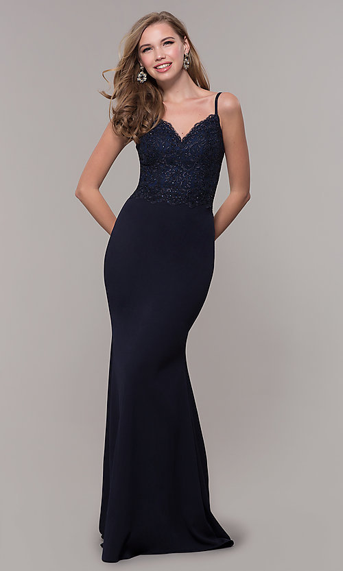 Image of long formal prom dress with embroidered bodice. Style: DQ-2620 Detail Image 3