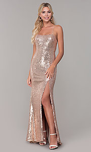 Image of corset-back long sequin prom dress. Style: DQ-2667 Front Image