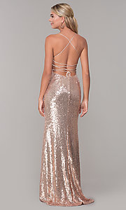 Image of corset-back long sequin prom dress. Style: DQ-2667 Back Image