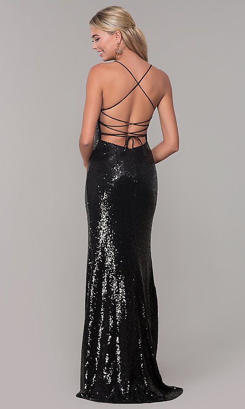 Image of corset-back long sequin prom dress. Style: DQ-2667 Detail Image 5