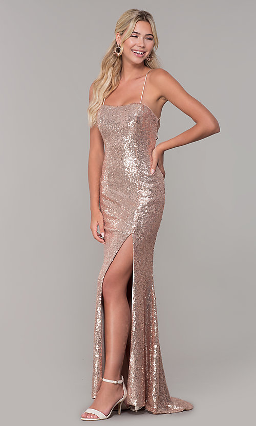 Image of corset-back long sequin prom dress. Style: DQ-2667 Detail Image 3