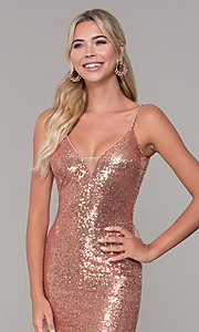 Image of v-neck sequin long prom dress with slit. Style: DQ-2408 Detail Image 1
