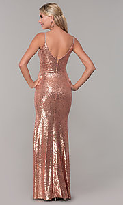 Image of v-neck sequin long prom dress with slit. Style: DQ-2408 Back Image