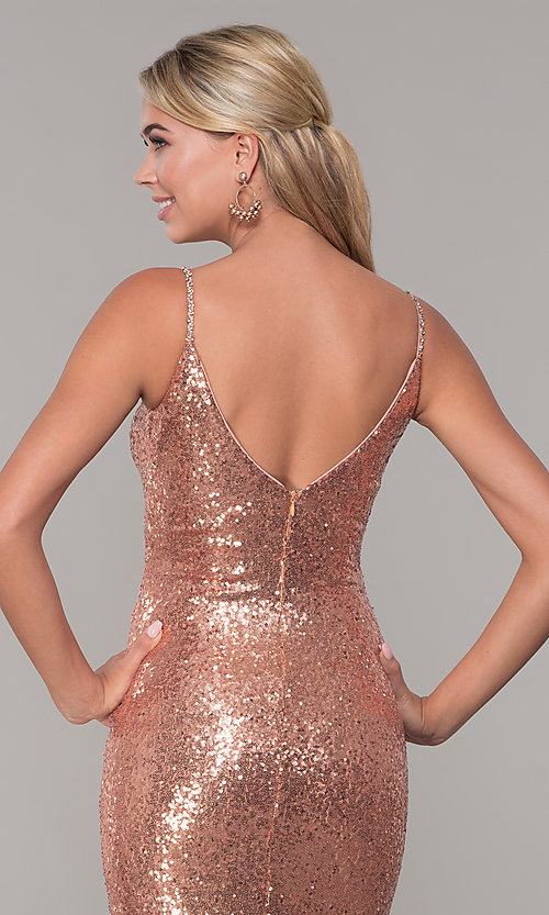 Image of v-neck sequin long prom dress with slit. Style: DQ-2408 Detail Image 2