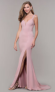 Image of long illusion prom dress with embroidery. Style: DQ-2623 Front Image