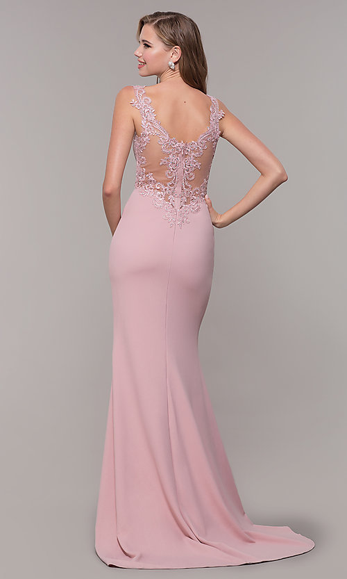 Image of long illusion prom dress with embroidery. Style: DQ-2623 Back Image