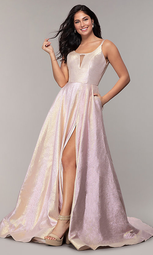 Image of long scoop-neck prom dress in metallic blush/gold. Style: ASH-1514 Front Image
