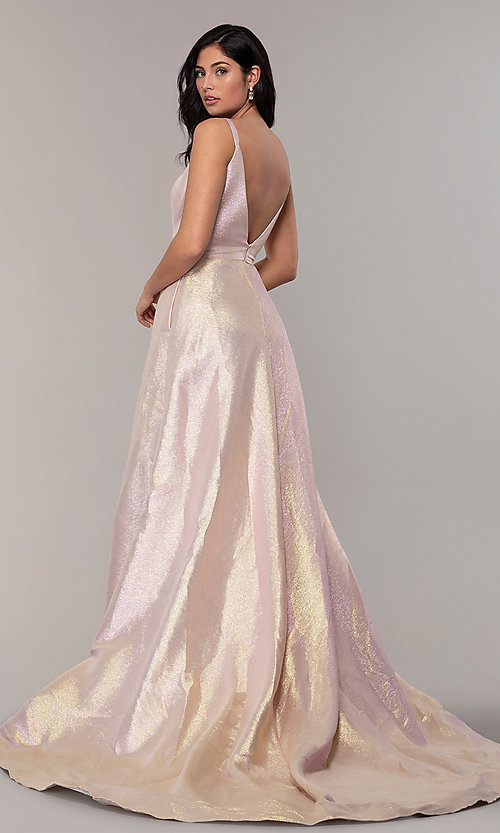 Image of long scoop-neck prom dress in metallic blush/gold. Style: ASH-1514 Back Image