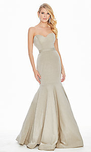 Image of long mermaid prom dress with removable straps. Style: ASH-1487 Front Image