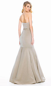 Image of long mermaid prom dress with removable straps. Style: ASH-1487 Back Image