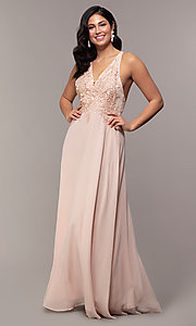 Image of long chiffon v-neck prom dress with lace. Style: LP-25786 Detail Image 4