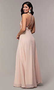 Image of long chiffon v-neck prom dress with lace. Style: LP-25786 Detail Image 5