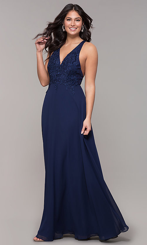 Image of long chiffon v-neck prom dress with lace. Style: LP-25786 Front Image