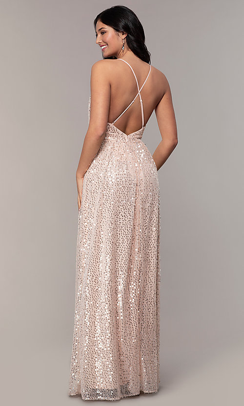Image of long sequin v-neck open-back prom dress by PromGirl. Style: LP-25932 Back Image