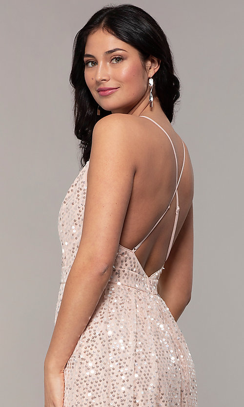 Image of long sequin v-neck open-back prom dress by PromGirl. Style: LP-25932 Detail Image 2