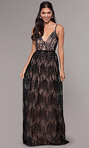 Image of long lace v-neck prom dress. Style: LP-27745 Front Image