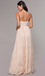 Image of long lace v-neck prom dress. Style: LP-27745 Detail Image 4