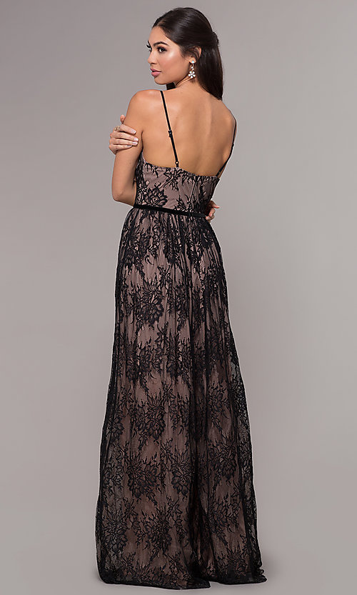 Image of long lace v-neck prom dress. Style: LP-27745 Back Image