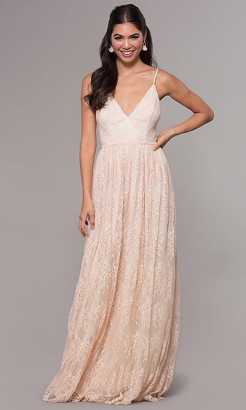 Image of long lace v-neck prom dress. Style: LP-27745 Detail Image 3