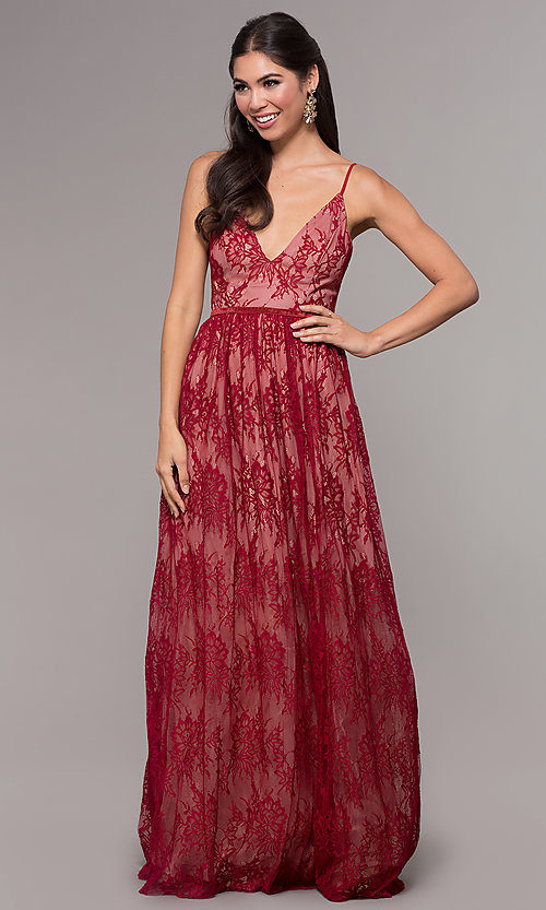 Image of long lace v-neck prom dress. Style: LP-27745 Detail Image 6