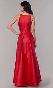 Image of high-neck high-low long prom dress by PromGirl. Style: LP-27492 Detail Image 7