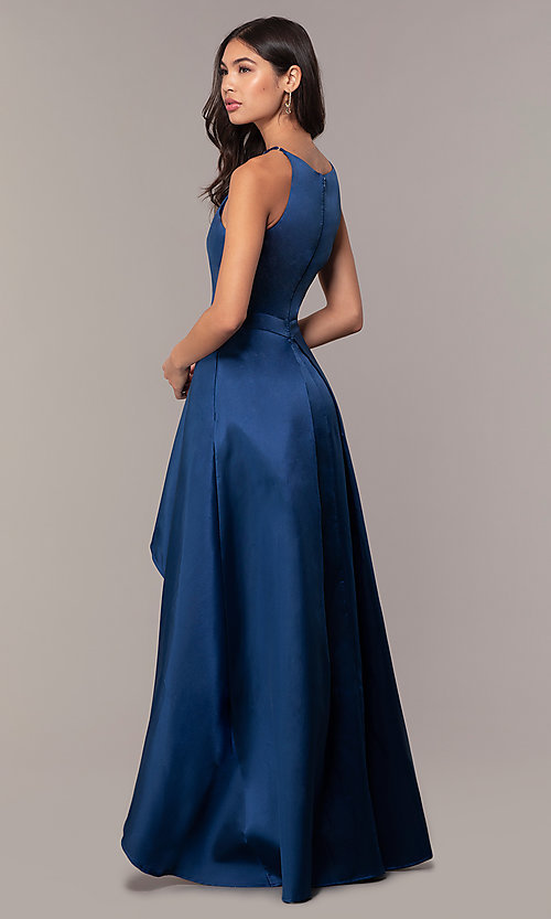 Image of high-neck high-low long prom dress by PromGirl. Style: LP-27492 Back Image