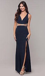 Image of long beaded-waist v-neck prom dress with slit. Style: LP-25894 Front Image