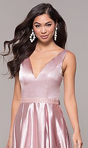 Image of long v-neck satin a-line prom dress with beads. Style: LP-25832 Detail Image 1