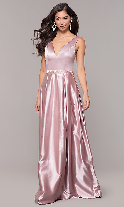 Image of long v-neck satin a-line prom dress with beads. Style: LP-25832 Detail Image 3