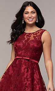 Image of high-low prom dress with illusion-sweetheart bodice. Style: LP-24056-1 Detail Image 8