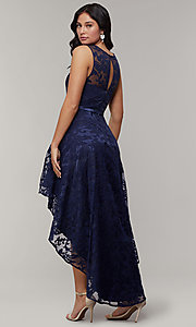 Image of high-low prom dress with illusion-sweetheart bodice. Style: LP-24056-1 Back Image
