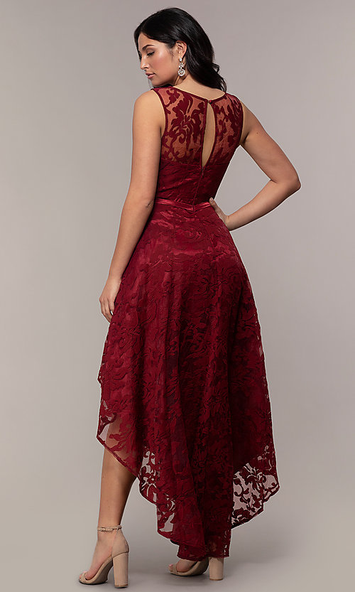 Image of high-low prom dress with illusion-sweetheart bodice. Style: LP-24056-1 Detail Image 7