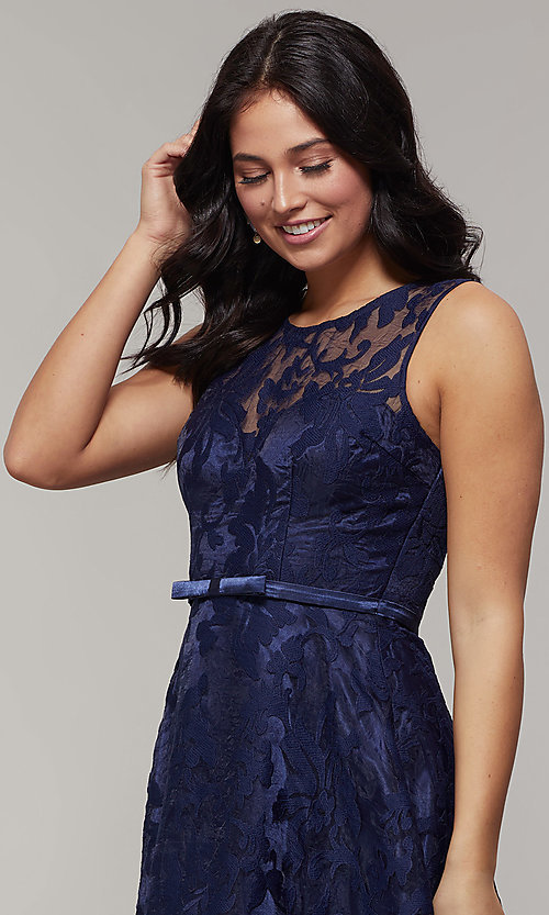 Image of high-low prom dress with illusion-sweetheart bodice. Style: LP-24056-1 Detail Image 1