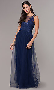Image of long tulle scoop-neck prom dress with lace. Style: LP-25483 Detail Image 3