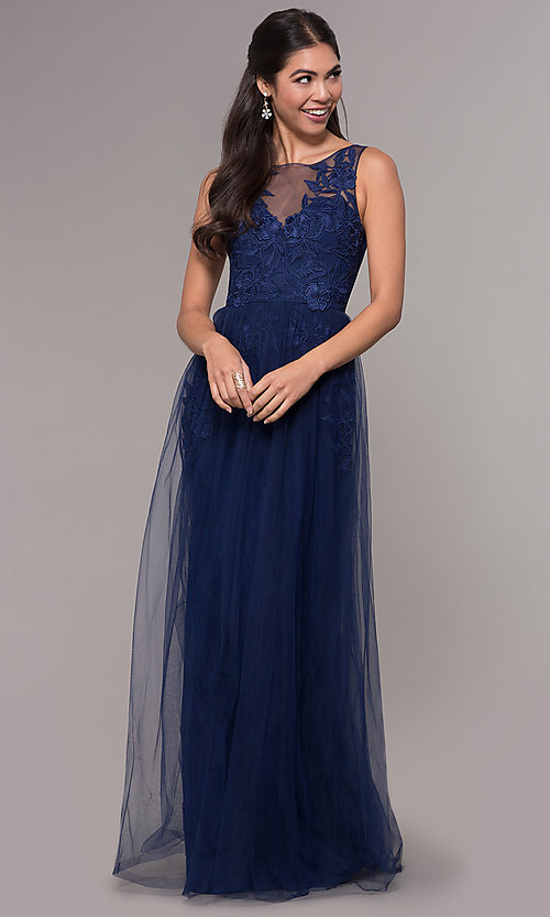 Image of long tulle scoop-neck prom dress with lace. Style: LP-25483 Front Image