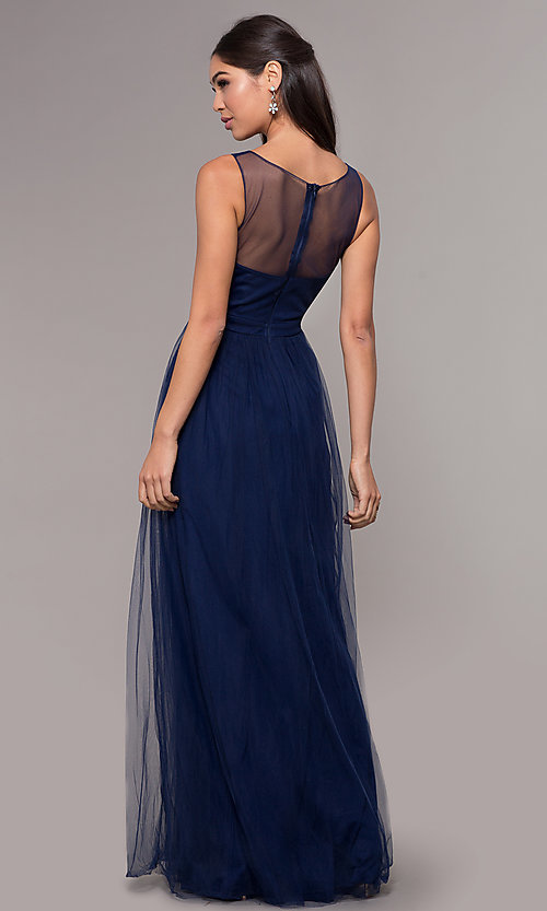 Image of long tulle scoop-neck prom dress with lace. Style: LP-25483 Back Image
