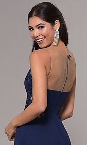 Image of long prom dress with embroidered scoop-neck bodice. Style: LP-25803 Detail Image 2
