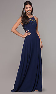 Image of long prom dress with embroidered scoop-neck bodice. Style: LP-25803 Detail Image 3