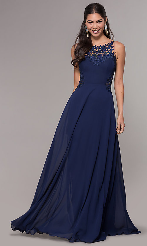Image of long prom dress with embroidered scoop-neck bodice. Style: LP-25803 Front Image