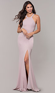 Image of long high-neck prom dress with slit. Style: LP-25518 Detail Image 3