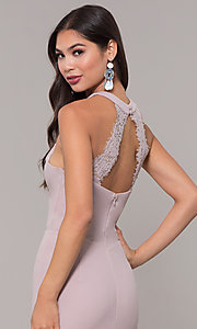 Image of long high-neck prom dress with slit. Style: LP-25518 Detail Image 5